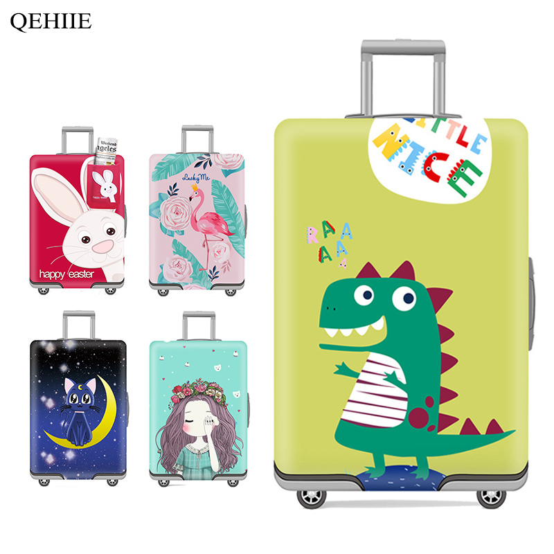 Cartoon Luggage Cover Cute Animal 3D Printing Trolley Case Cover Solid Color Thick Suitcase Protective Cover For 18-32 Inch