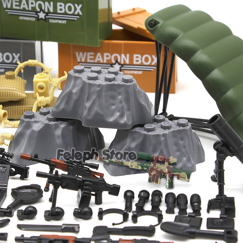 153Pcs Sandbag Laptop Armor Camouflag Building Blocks Model Bricks Military Army SWAT Weapon Team Set MOC Accessories DIY Toy (2)