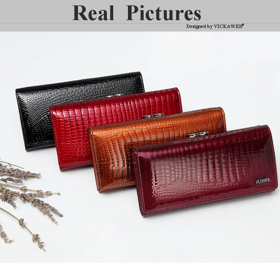 VICKAWEB Long Thick Wallet Female Fashion Alligator Purse Women Genuine Leather Standard Wallets Hasp womens wallets and purses-004