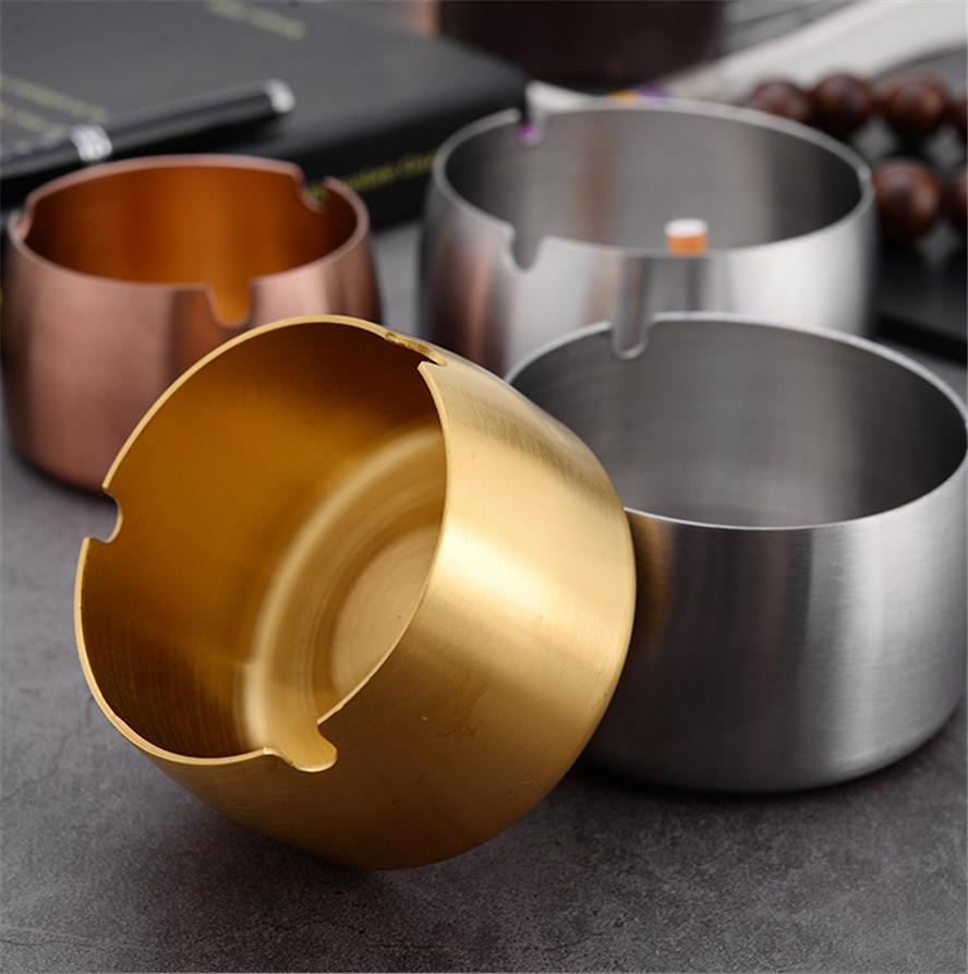 Ashtray Windproof and Fall-proof Thickened Stainless Steel Metal Ashtray Hotel Internet Cafe Home Black Blue Gold