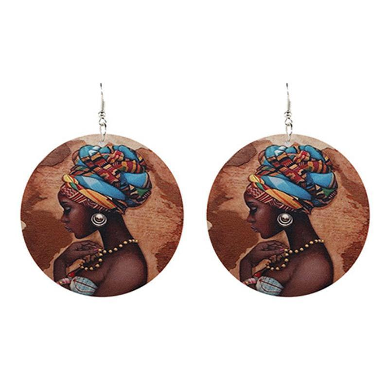Handmade Ethnic Africa Pattern Print Wooden Earrings For Women Vintage African Story Round Statement Wood Drop Earrings