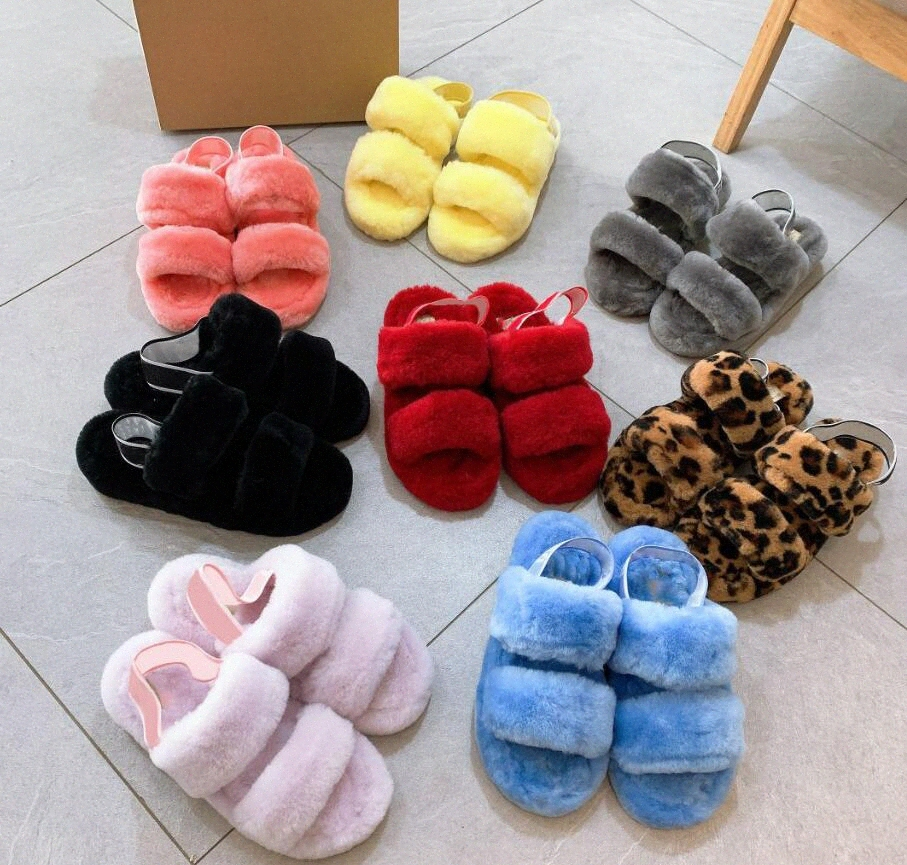 Australia Furry slippers fluffy women infants fluff yeah slide oh yeah cozette fuzz womens australian winter sandals fur slides casual O7UU#