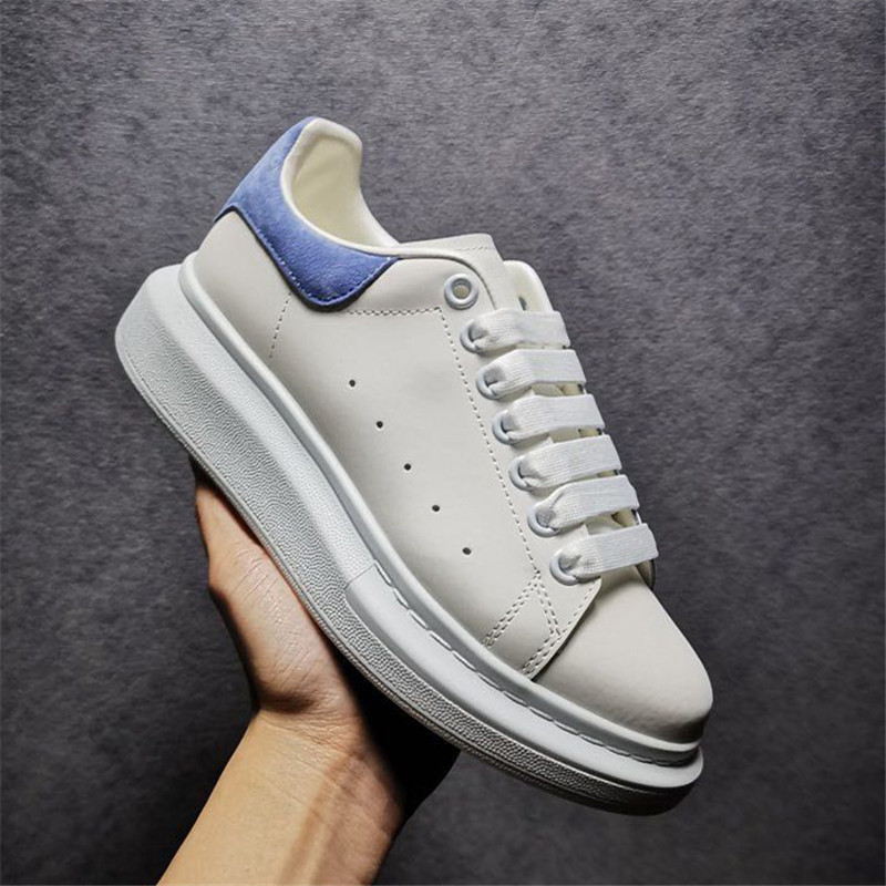 2021 Top Quality Men Women Casual Shoes Increase White Gunuine Leather Trainers Lace up Skateboarding Sneakers Comfort Suede Platform Shoes