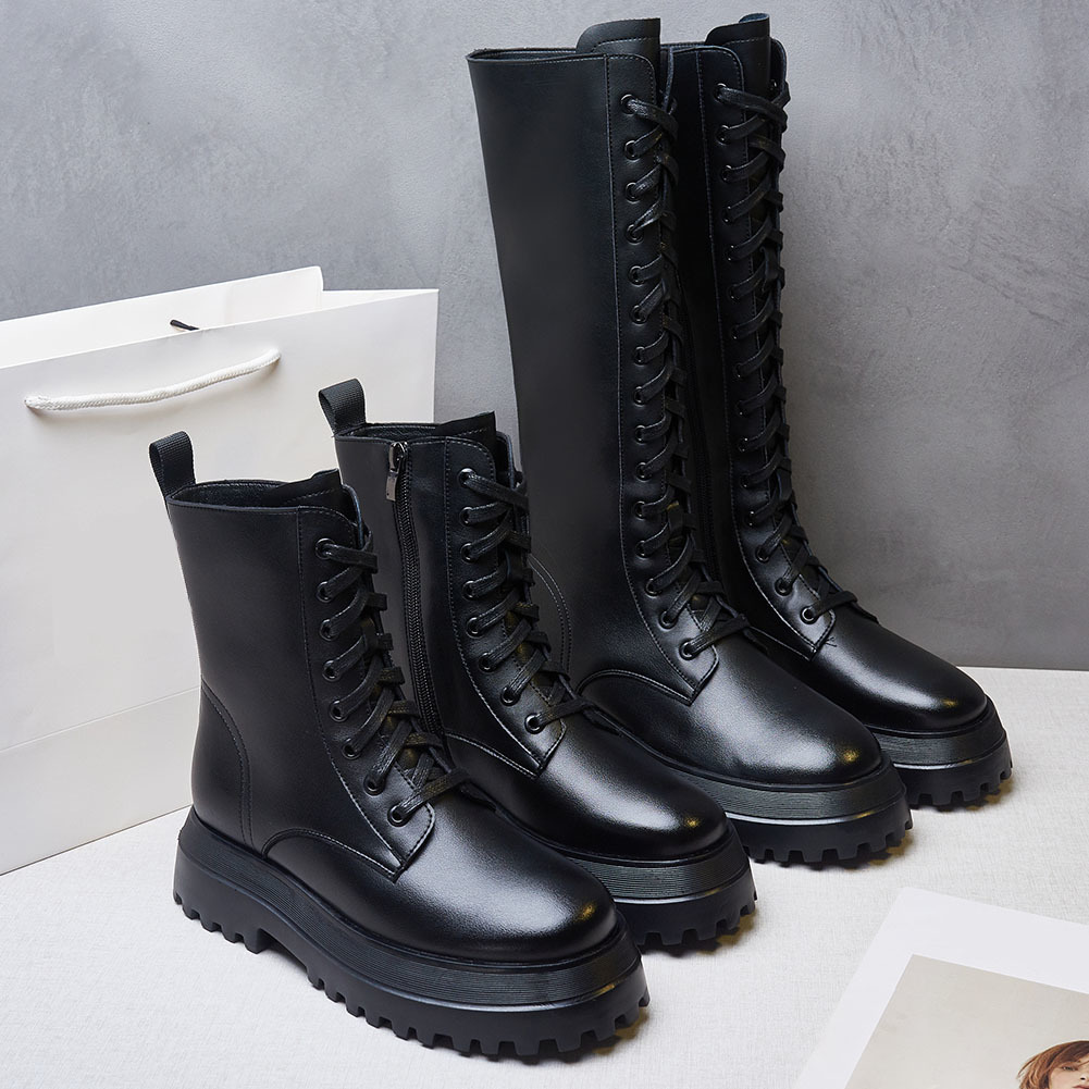 Hot Sale 2021 Brand New Fashion Genuine Leather INS HOT Sale Chunky Heels Platform Motorcycles Boots Shoes Women Leather Lady Footwear