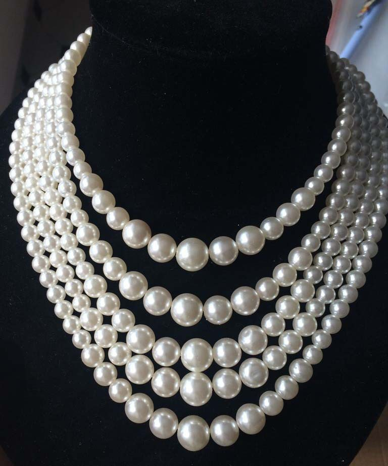 011Faux Big White Pearl Chunky Necklace Pearl Multi Strand 5 Layers Choker Dressy Bib Necklace (5)