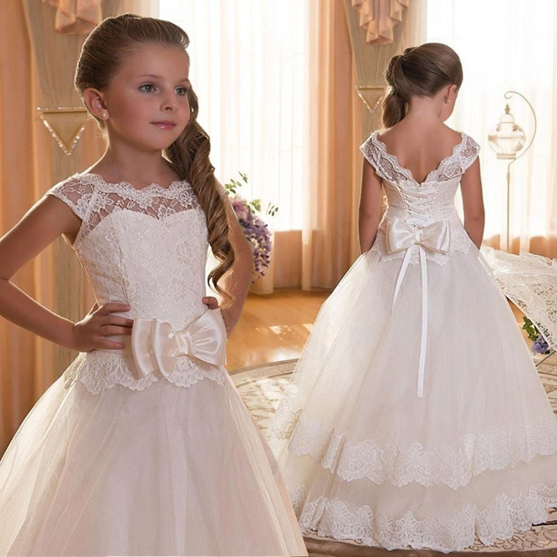 Girl-Children-Wedding-Dress-white-First-Holy-Communion-Formal-long-Sleeveless-Lace-Princess-Party-Prom-Dress