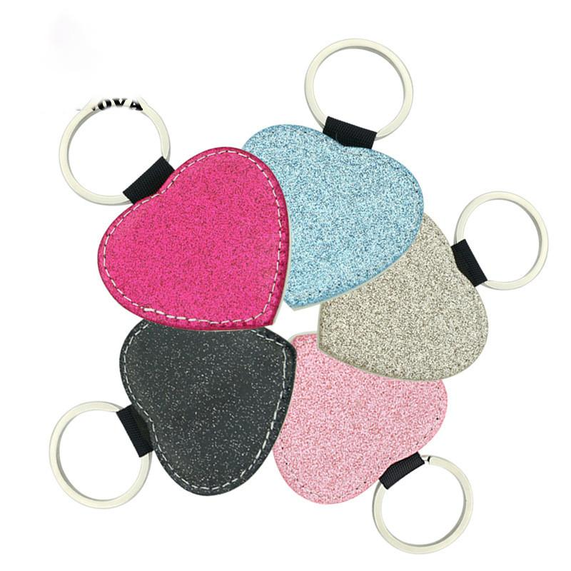 Sublimation Blanks Keychain Glitter Keychain PU Leather Keychain Heat Transfer Keyring Round Heart Rectangle Square can custom