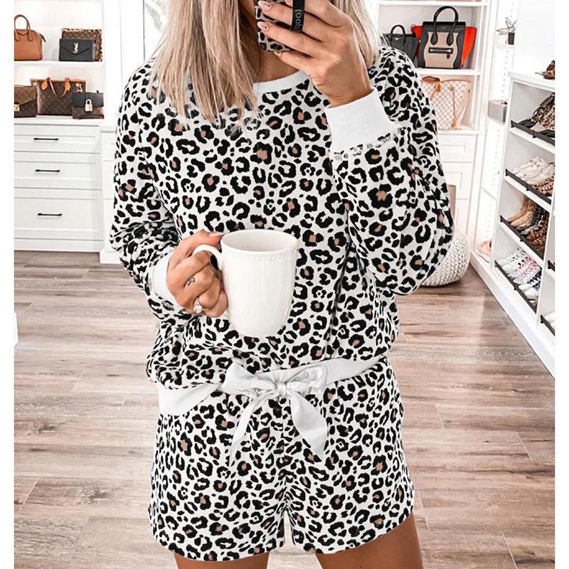 Leopard print sleepwear women spring summer long sleeve female pajama set fashion indoor loose two pieces loungewear nightwear (5)