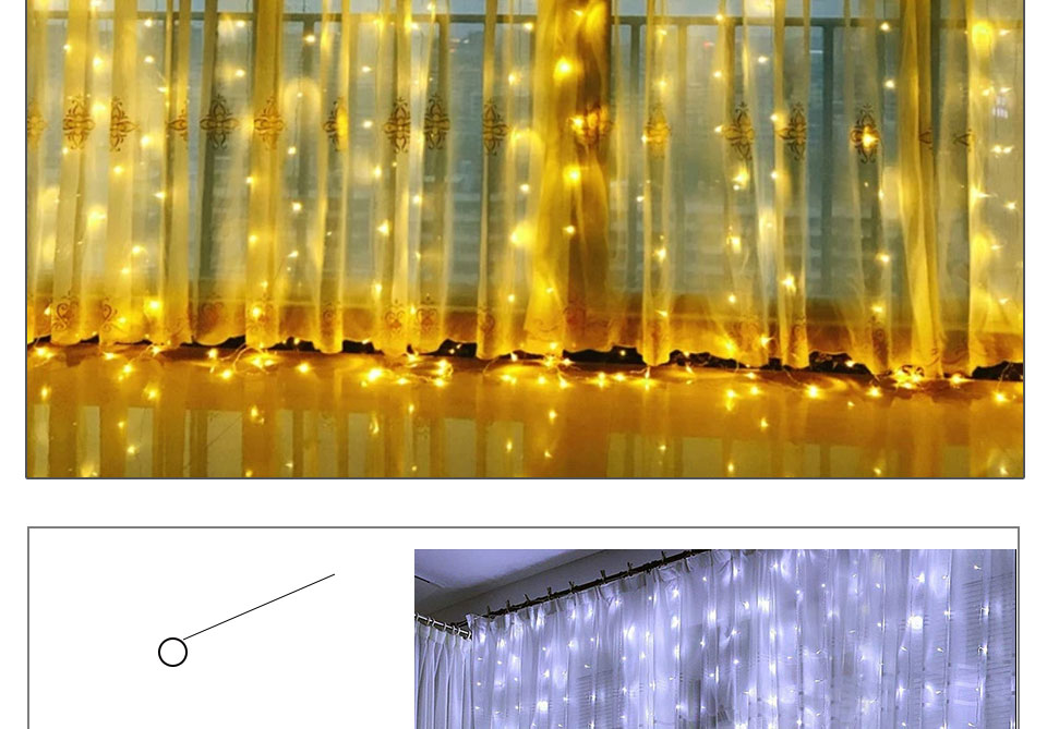 4.5M led wedding fairy string light christmas lights AC 110V 220V Star Led Curtain String halloween Light Decor For Home Party (14)