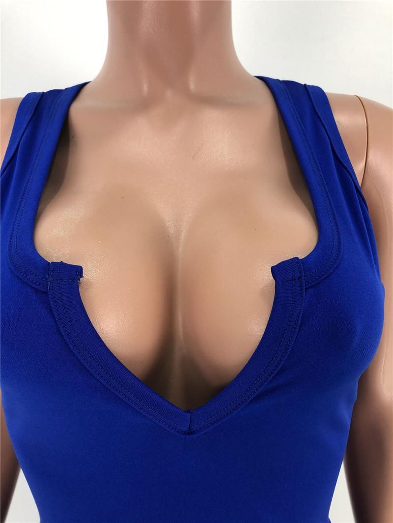 Sexy Sleeveless Women Dresses Fashion Solid Color V Neck Slim Bodycon Dress Women Designers Clothes 2020