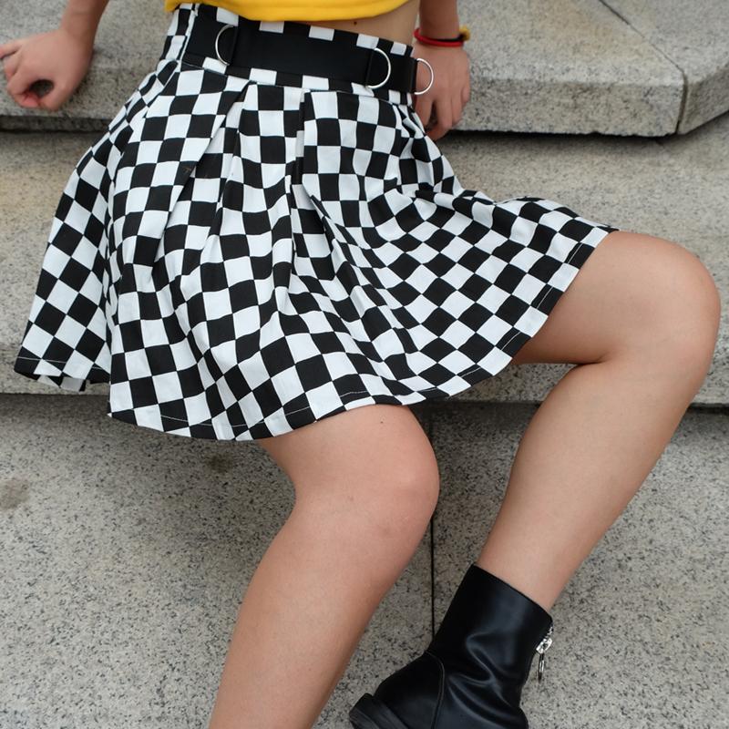 8Sweetown Korean Fashion Checkerboard Pleated Skirts Womens Sashes High Waist Zipper Cotton Short Skirt Woman Summer Skirts