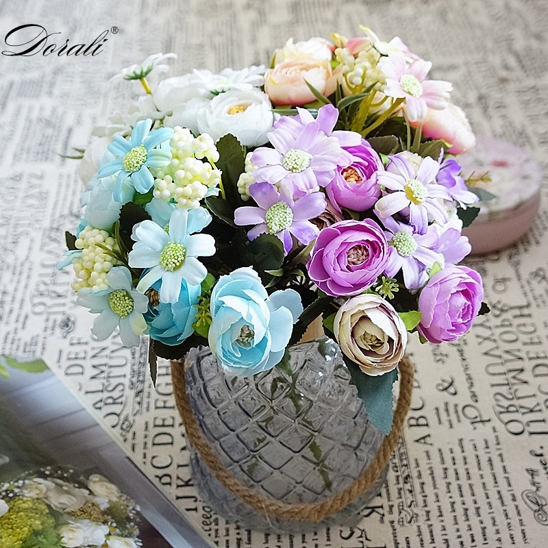 Rose Artificial Silk Flowers High Quality Bouquet 12 heads Fake Flowers Daisy Bud Decoration for Wedding Home Foam Accessories