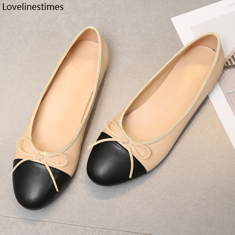 Ballet Flats Classic Shoes Women Basic Leather Tweed Cloth Two Color Splice Bow Round Ballet Shoe Fashion Flats Women Shoes 201013