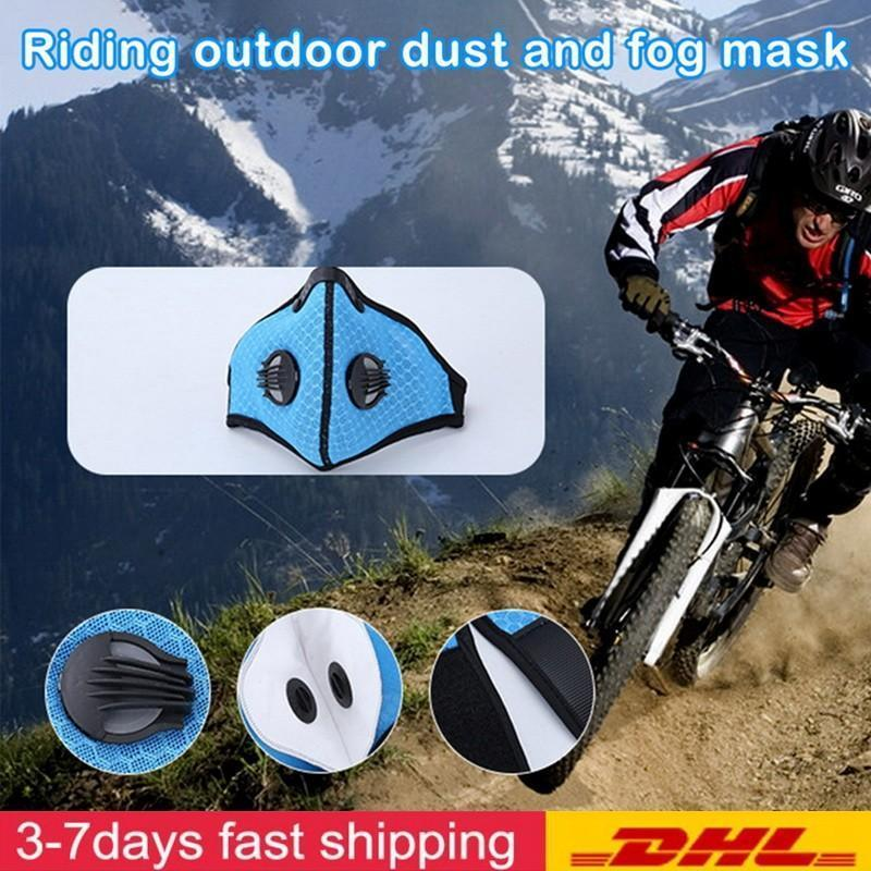 Fast Shipping Sport Face Mask With Filter Activated Carbon PM 2.5 Anti-Pollution Breathing Valve Running Training Bike Protective Masks