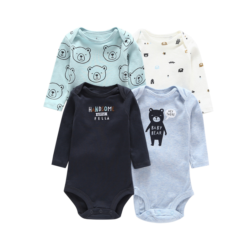 4PCS/PACK autumn baby boy clothes cotton cute cartoon bear long sleeve bodysuit newborn Infant baby girl jumpsuit 6-24month