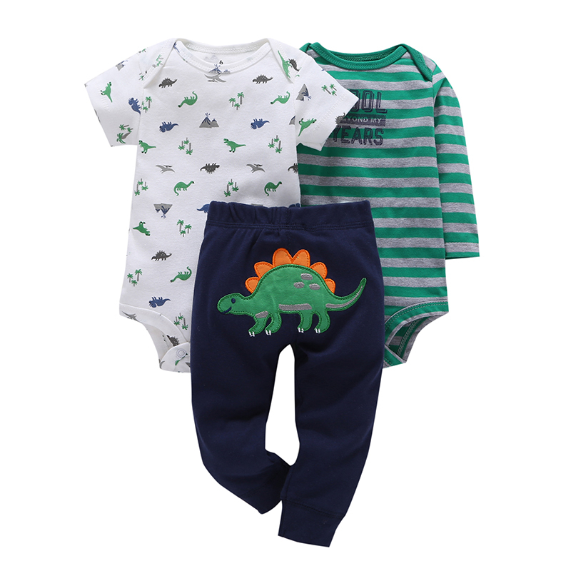 new infant baby boy clothes cotton green stripe romper dinosaur model+pants 3pcs cute newborn baby girl outfit costume