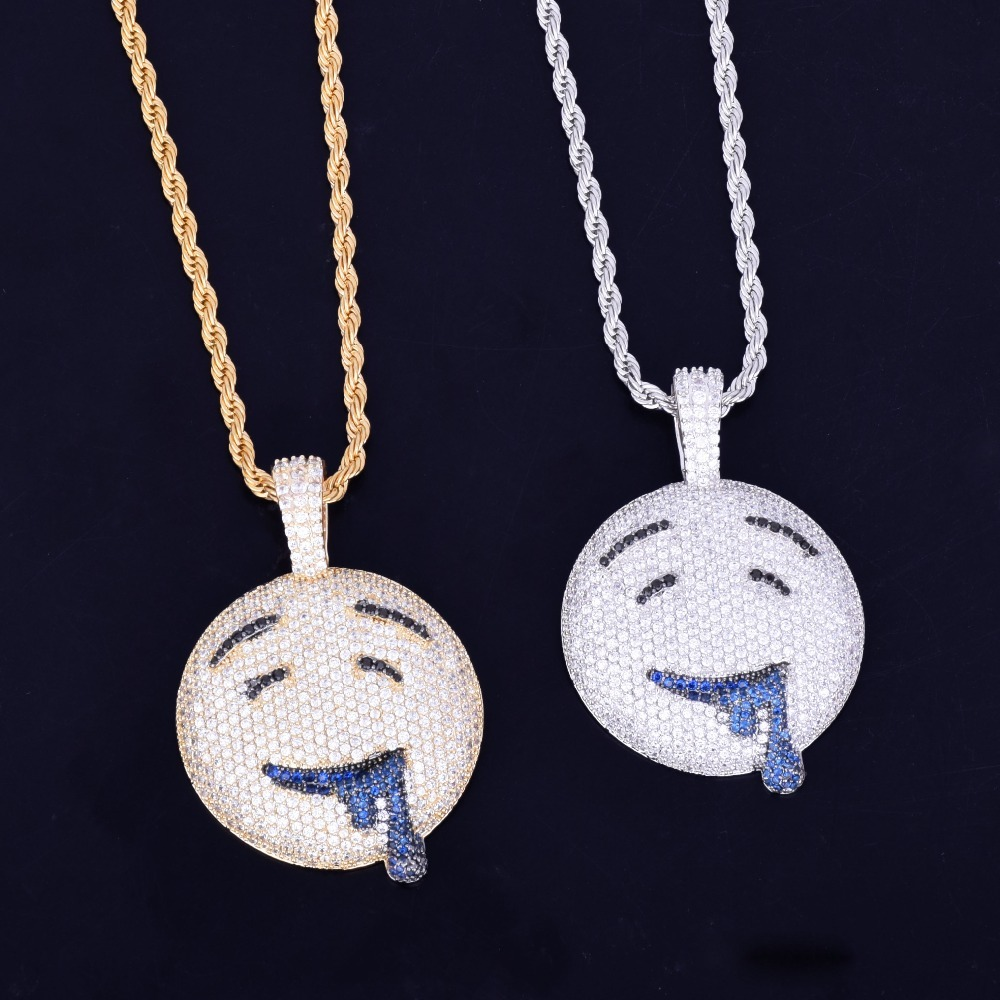 Drool-Round-Face-Pendant-With-Tennis-Chain-Gold-Color-Charm-Bling-Cubic-Zircon-Men-s-Hip (2)