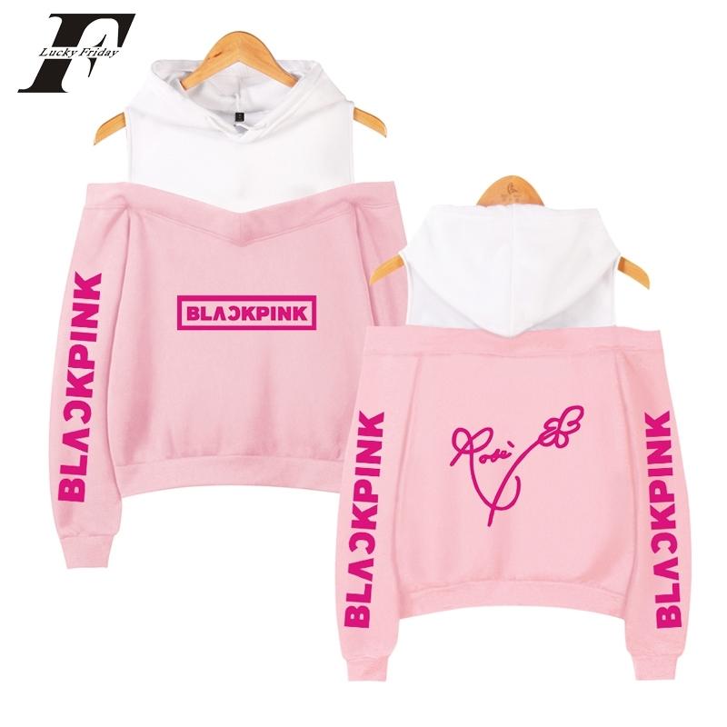 BLACKPINK Kpop Women's Off-shoulder Sexy Girls Hoodies Sweatshirt Exclusive black pink K pop Casual Autumn Bare shoulder Y200706
