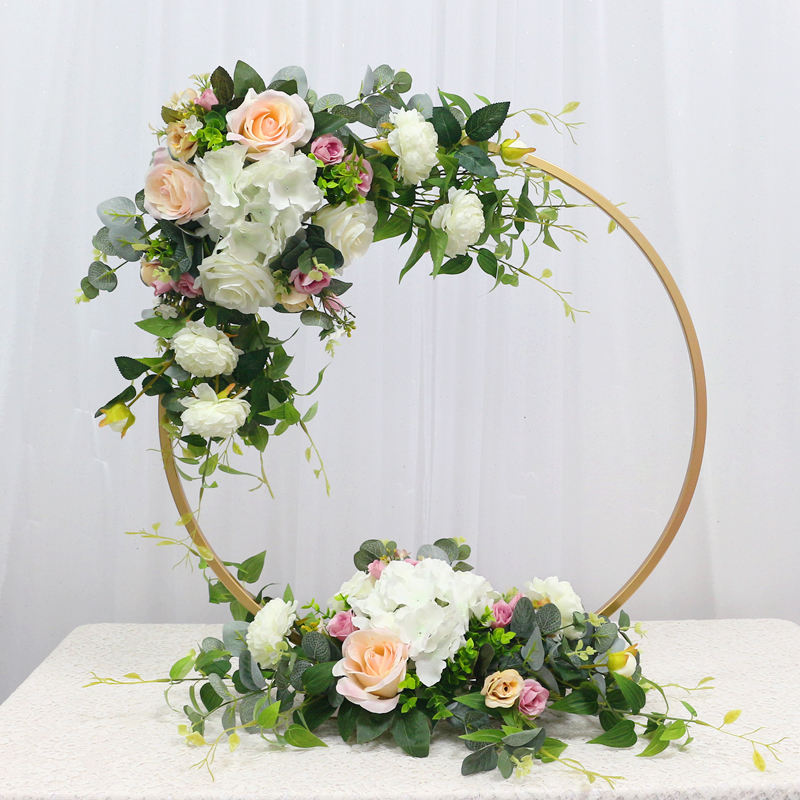JAROWN New Wedding Party Table Centerpiece Flower Stand Artificial Flowers Home Round Backdrop Frame Shelf Decoration Accessories (1)