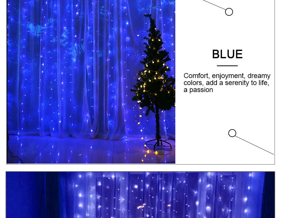 4.5M led wedding fairy string light christmas lights AC 110V 220V Star Led Curtain String halloween Light Decor For Home Party (17)