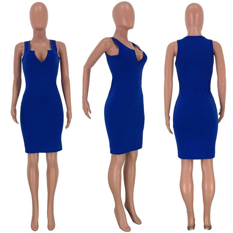 Sexy Sleeveless Women Dresses Fashion Solid Color V Neck Slim Bodycon Dress Women Designers Clothes 2020
