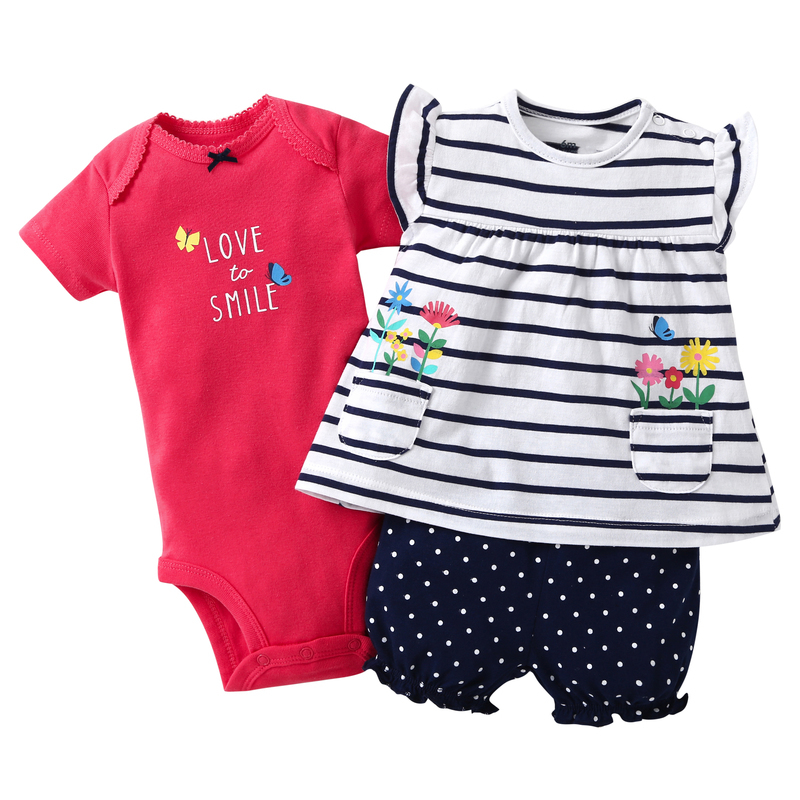 3PCS newborn baby girl clothes cotton short sleeve floral T-shirt+romper+dot shorts clothing set for 6-24M baby girls Outfits