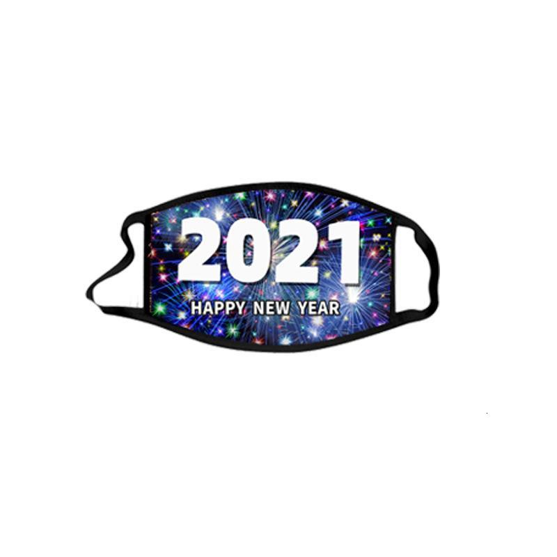 2021 Happy New Year Masks Merry Christmas Face Mask Fashion Breathable Reusable Cotton Masks Celebrate New Year Supplies w-00423