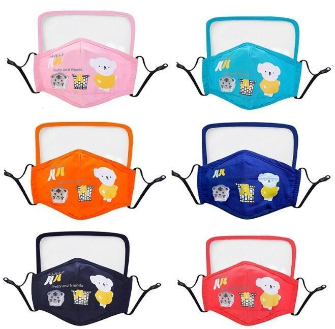 Kids Cotton Cloth PM2.5 Washable Face Mask with Goggle Anti-dust Mask Colorful Non-Woven Fabric Children Cloth Masks DHL
