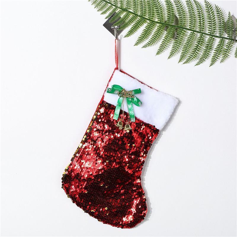 20*30CM 2020 Christmas Stocking Gift Bags Canvas Bling Bling Christmas Xmas Stocking Large Size Sequins Decorative Socks Bag