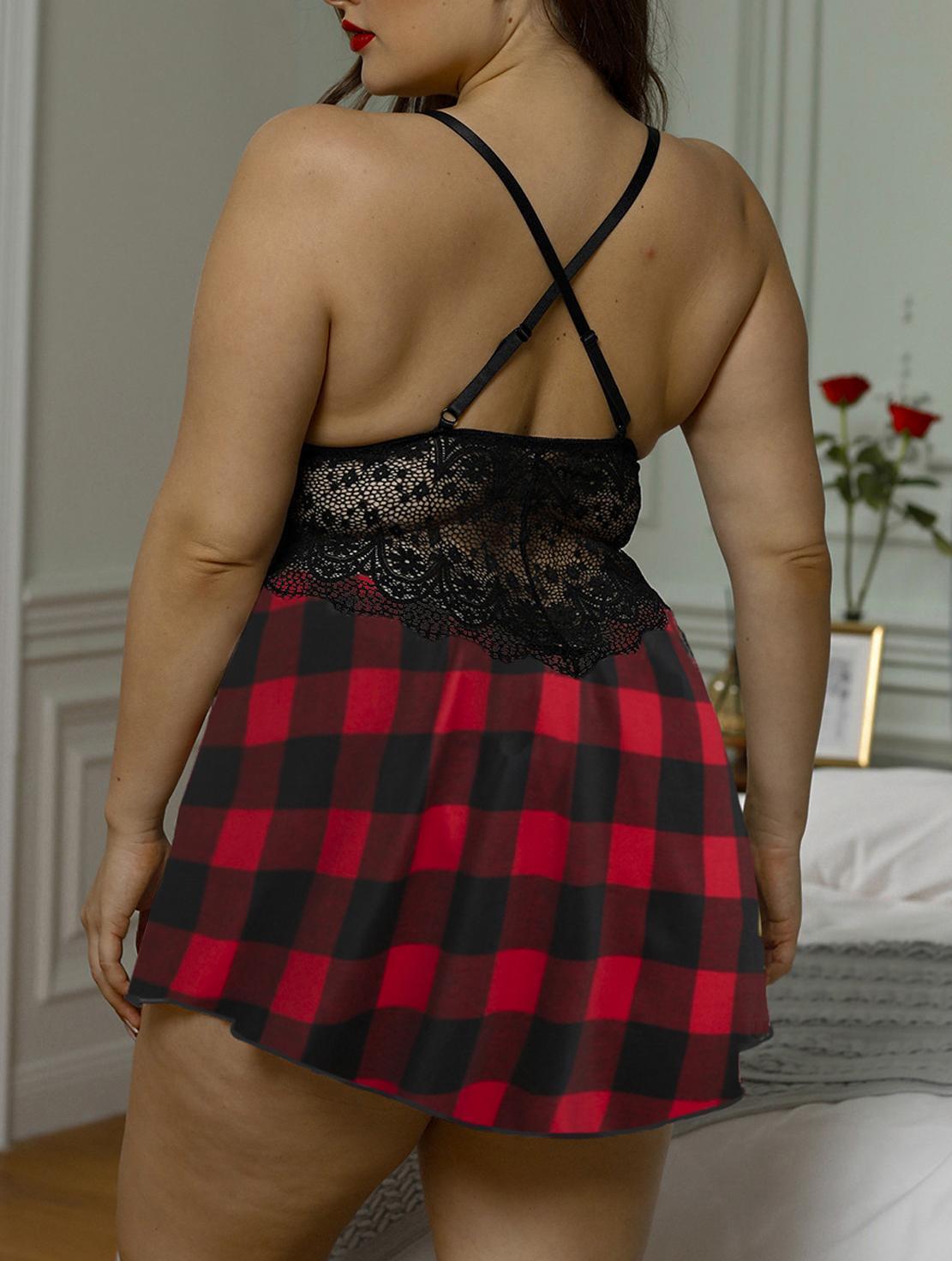 Women Plus Size Babydoll Teddy Lingerie Lace Bra Floral Chemise Nighties V-Neck Sleeveless Backless Nightdress Nightwear One Piece Pajama