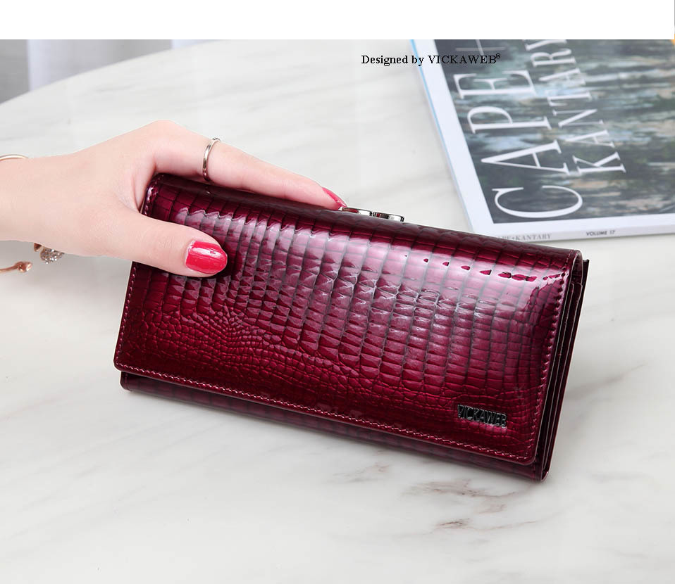 VICKAWEB Long Thick Wallet Female Fashion Alligator Purse Women Genuine Leather Standard Wallets Hasp womens wallets and purses-AE1518-009