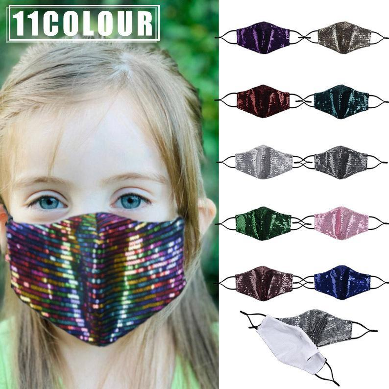 New Children's Colorful Sequined Masks Cute Thin Dust-proof Masks For Boys And Girls Can Be Washed Women Fashion Bling Sequins Mask HH9-3572