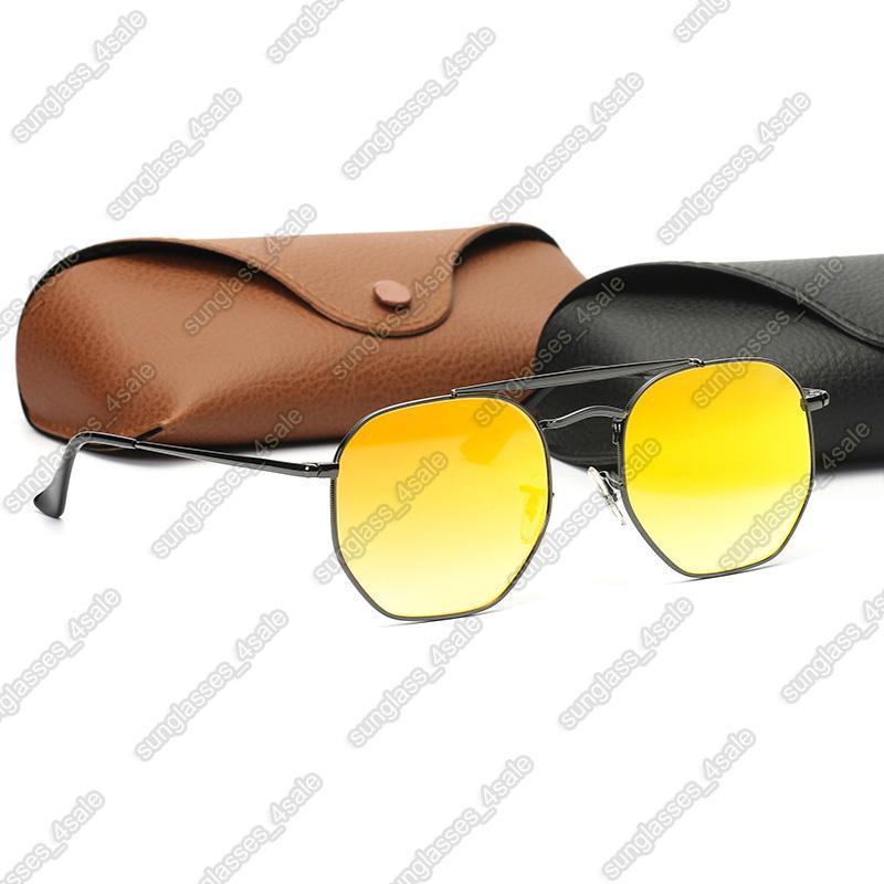 Womens Fashion Sunglasses Hexagonal Sunglasses Mens Ray Sun Glasses UV Protection Shield Sun Glasses Lenses with top Leather Case