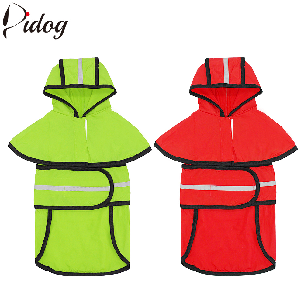 Reflective Dog Raincoat Dog Rain Jacket Waterproof Pet Coat With For Small Medium Large Dogs Green Red Colors S-2XL