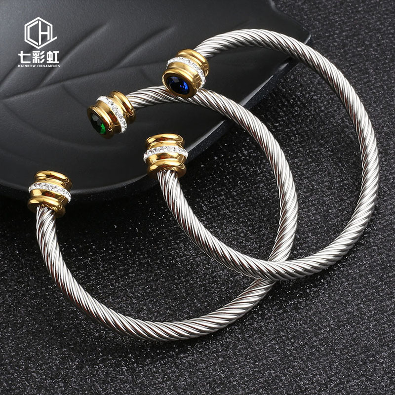 Cable lady Stainless Steel Wire Bracelet titanium steel gold inlaid drill C type open Bracelet F1130
