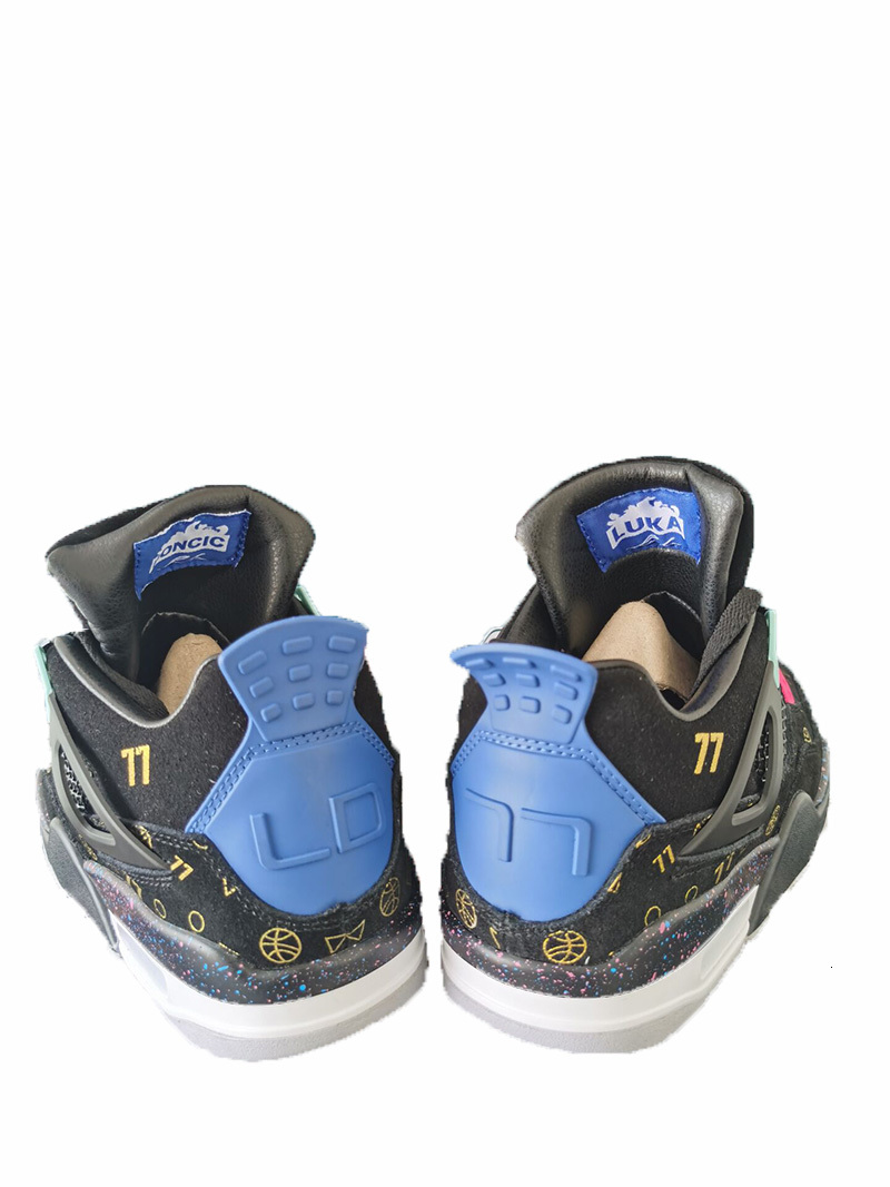 New Style 4 Luka Doncic Black Blue Men Shoes 4s Fortress night Leather mens sports sneaker