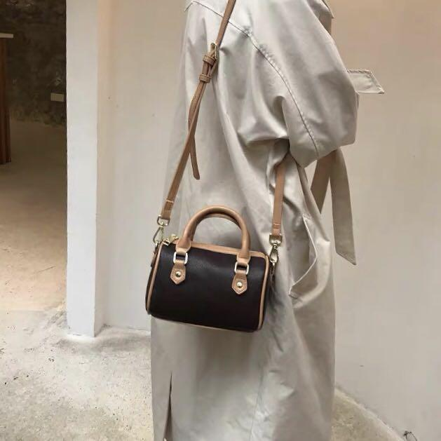 Wholesale new mini boston bags Canvas genuine leather lady messenger bag phone purse fashion satchel nano pillow shoulder bag handbag