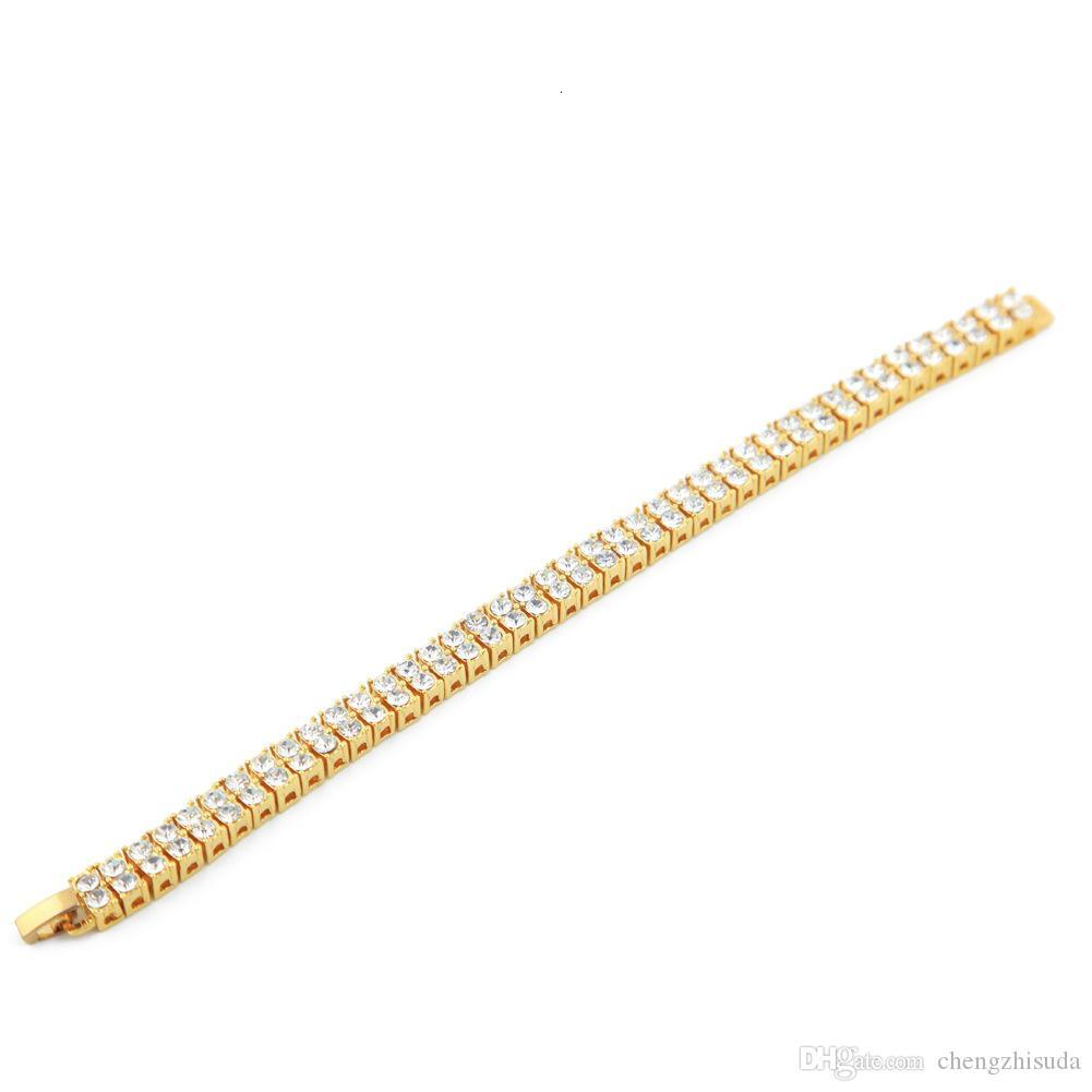 Hip hop Men Silver Gold Plated Iced Out 2 Row Rhinestones Bracelet Chain Clear Simulated Diamond Bracelet Men Women