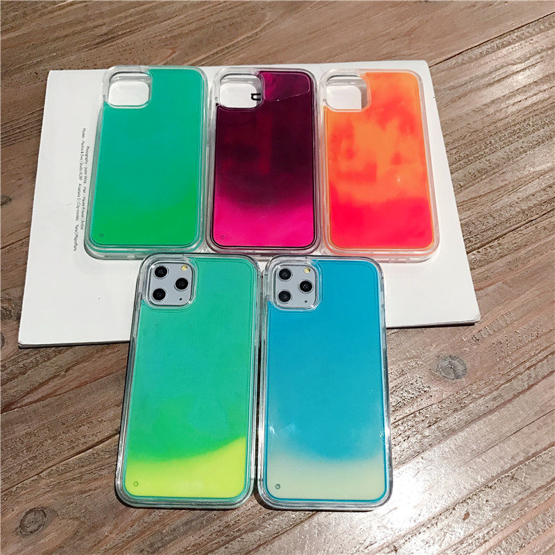 Hot Sale Luminous Neon Sand Glow Liquid Phone Case for iPhone 12 Pro Max Sublimation Glitter Phone Cover for iPhone 11/6/7/8/X/XR/XS/MAX