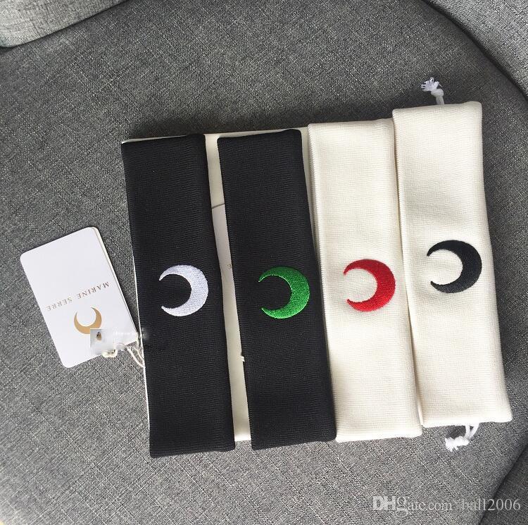 marine serre 19ss Master Design Fashion Individual Elastic Embroidery Moon Hair Belt