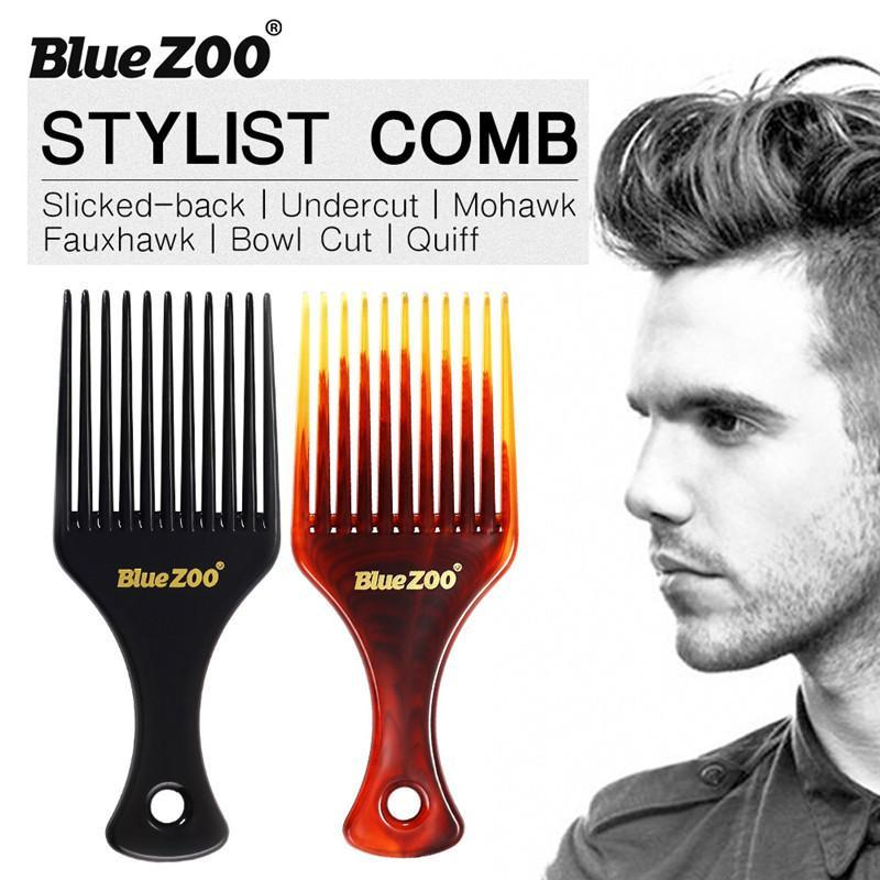 BlueZOO Men Hair Comb Insert Afro Hair Pick Comb Fork Comb Oil Slick Styling Hair Brush Hairdressing Accessory