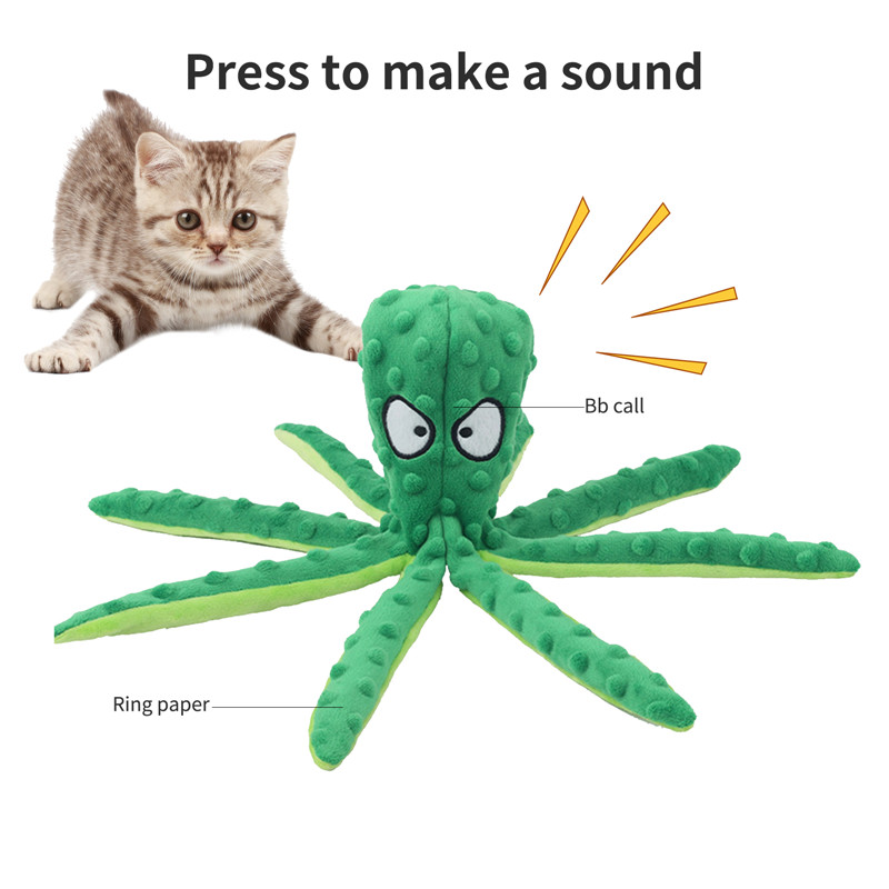 Octopus 8 Legs Soft Stuffed Plush Pet Biting Toy With Sound For Dog and Cat Christmas Utenciles