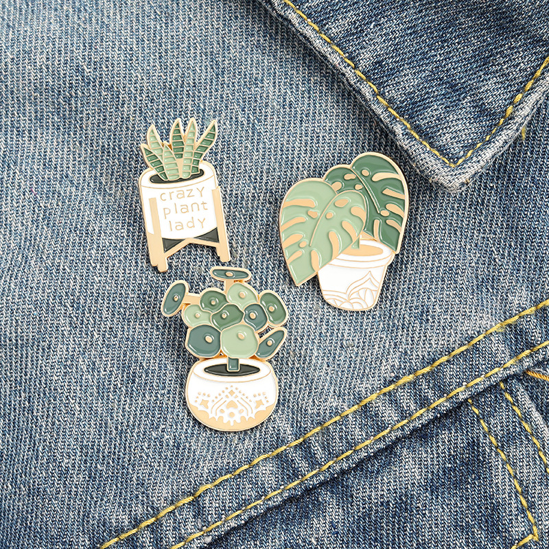Plant Green Metal Brooches Pin Enamel Brooches Pins for Women Men Gift Fashion Jewlery