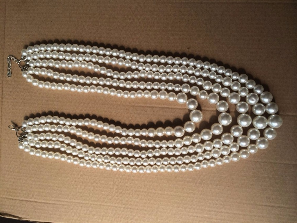 011Faux Big White Pearl Chunky Necklace Pearl Multi Strand 5 Layers Choker Dressy Bib Necklace (6)