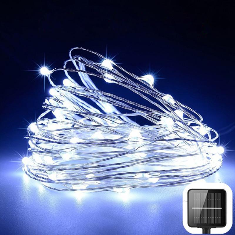 Lawn Ground Plug Lamp Strings Solar 100 Led 10m Lamp String Home Christmas Outdoor Garden Fairy Light Copper Wire 13 9ls G2