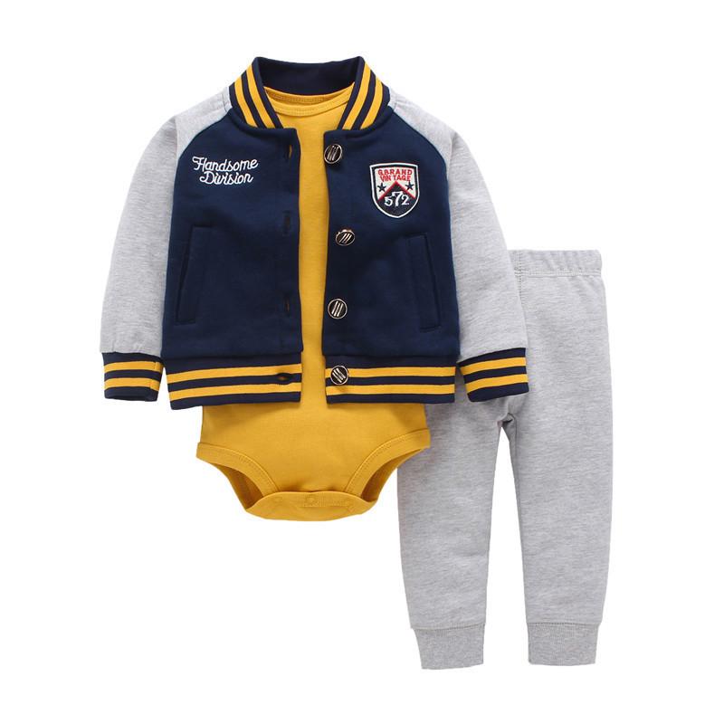 hooded zipper coat + pants + romper fashion cotton Baby Boy girl Clothes set children boys cute Clothing free shipping