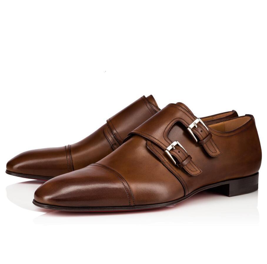 Elegant Gentlemen Mortimer Derby Calfskin Leather Monk Strap Red Bottom Loafers Shoes Mens Perfect Walking Flats Wedding Party Dress EU35-46