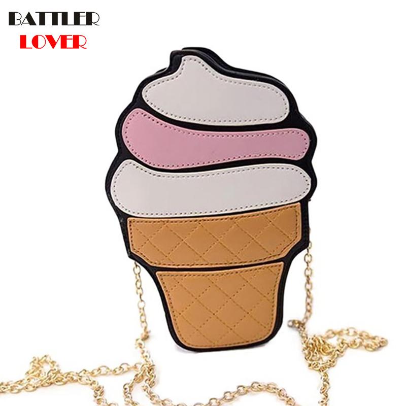 Cute Funny Ice Cream Cake Hamburger Bag Chain Messenger Bag Party Bag Small Crossbody Bags For Women Cute Purse Handbags