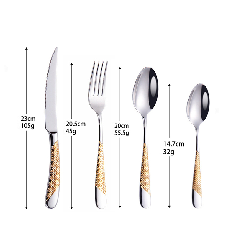 4Pcsset Cutlery Set 304 Stainless Steel Tableware Knife Fork Spoon Dinner Set Kitchen Dinnerware High Quality (6)