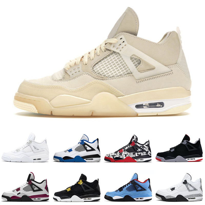 Sail Off Jumpman 4 4s Top Fashion Basketball Shoes Black Cat White Cement mens womens Pure Money Royalty Sport Trainers Sneakers 36-47